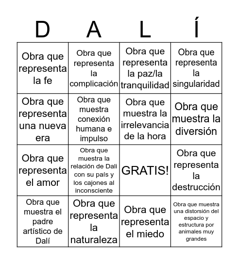 Salvador Dalí Bingo Card
