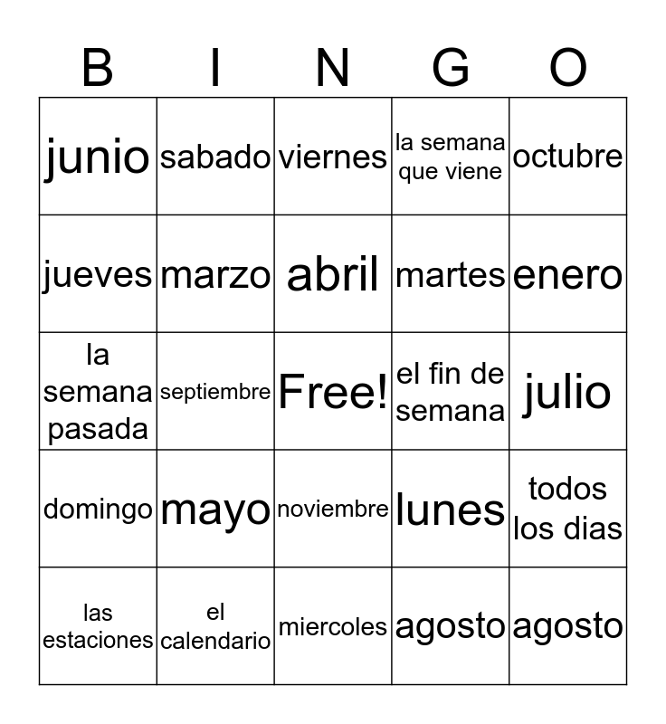 El Calendario Bingo Card