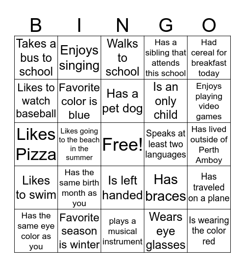 Who in this class....... Bingo Card