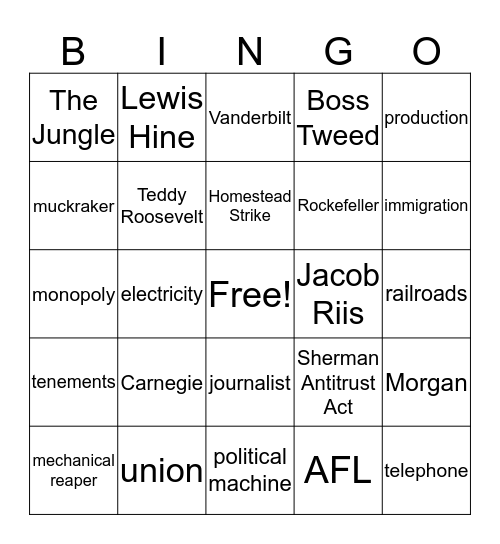 Industrialization, Labor and Rights Bingo Card