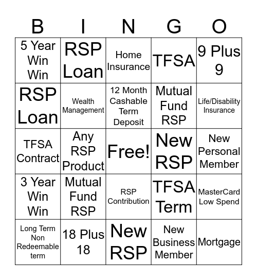 RRSP BINGO! WEEK 5 Bingo Card