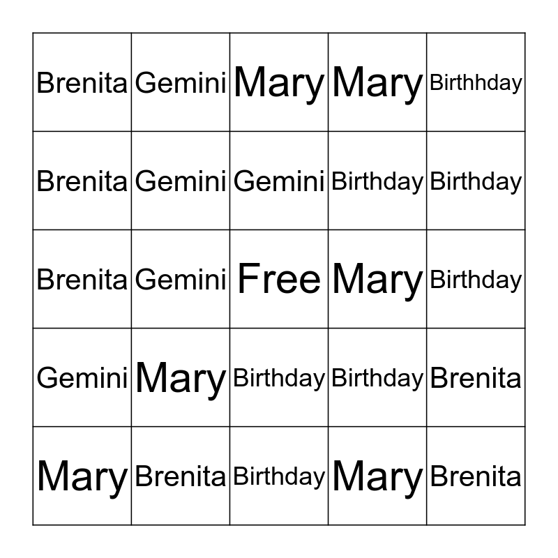 BIRTHDAY   BINGO   Bingo Card