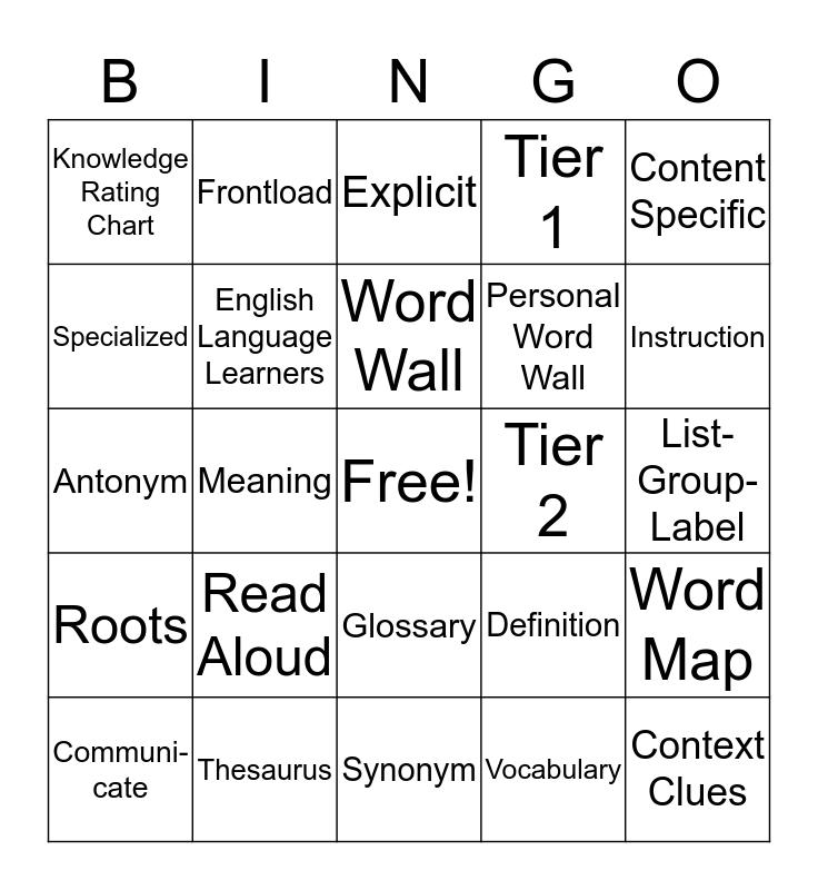 Vocabulary Buzz Word Bingo Card
