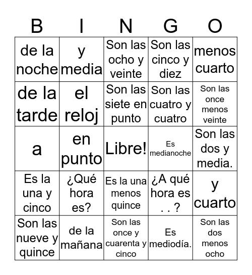 La Hora 2 Español Bingo Card