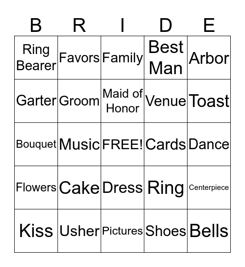 Maika's Bridal Shower Bingo Card
