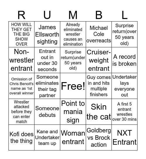 RUMBL Bingo Card