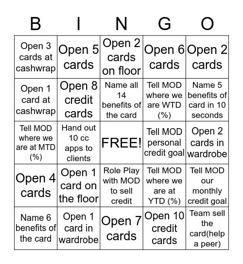 Memorial Day CREDIT Bingo!! Bingo Card