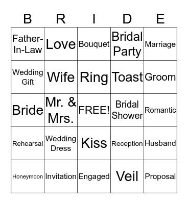 Tanya's Bridal Shower Bingo Card
