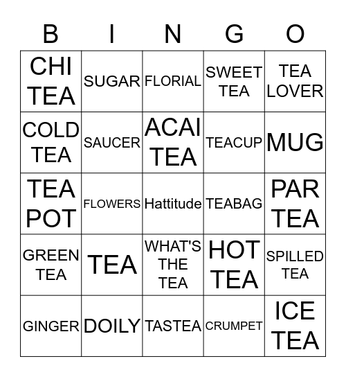 HATTITUDE TEA Bingo Card