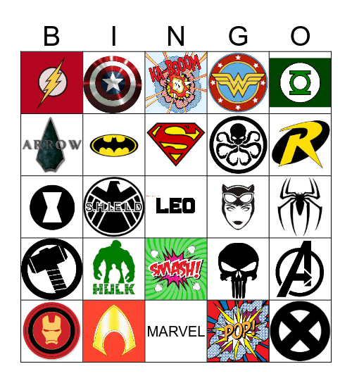 Superhero BINGO Card