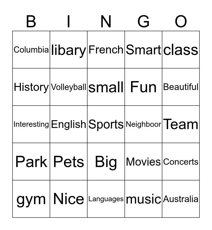 Connect 2  Bingo Card