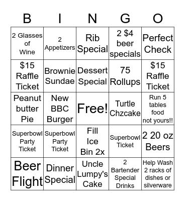 BBC Bingo!!! Bingo Card