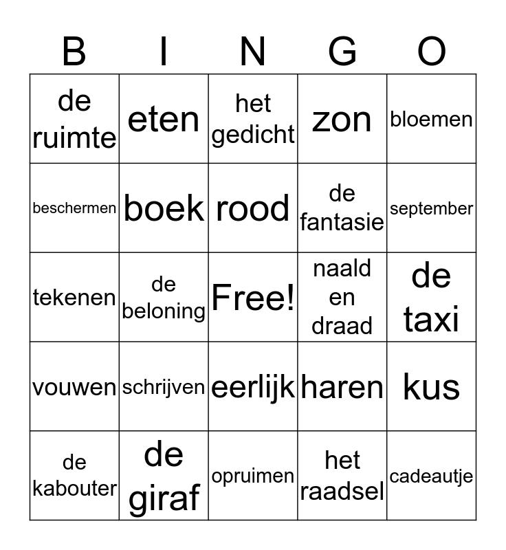 Woordbingo Groep 6 Bingo Card