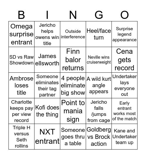 Rumble Bingo Card