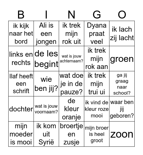woordbingo  Bingo Card