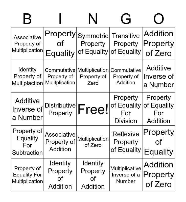 Properties of Mathematics Bingo Card
