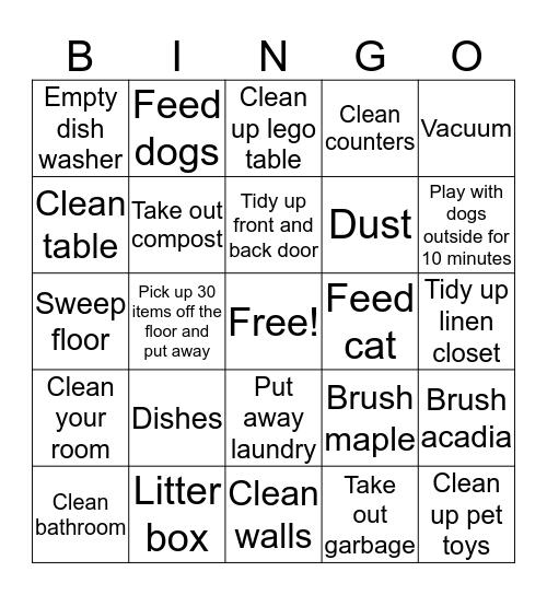 Chore Bingo Card