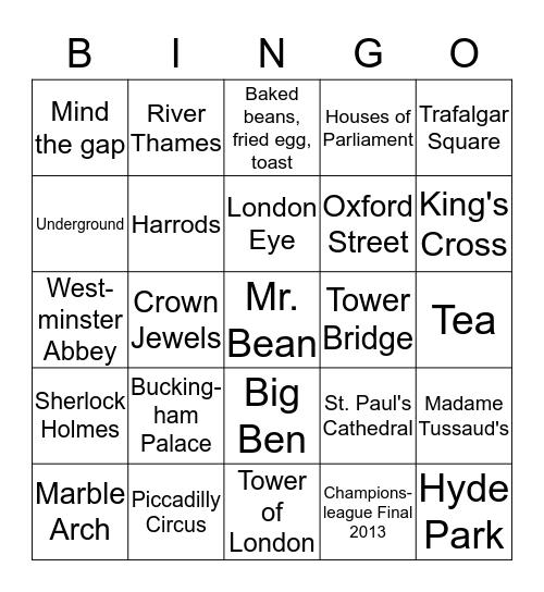 London Bingo Card