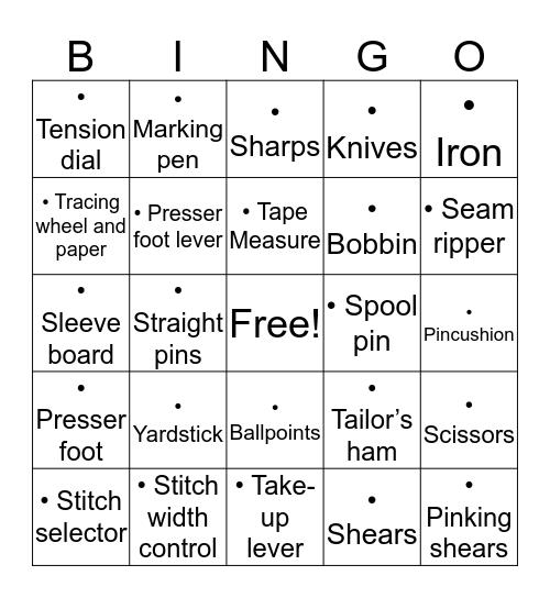 Equipment Bingo Card