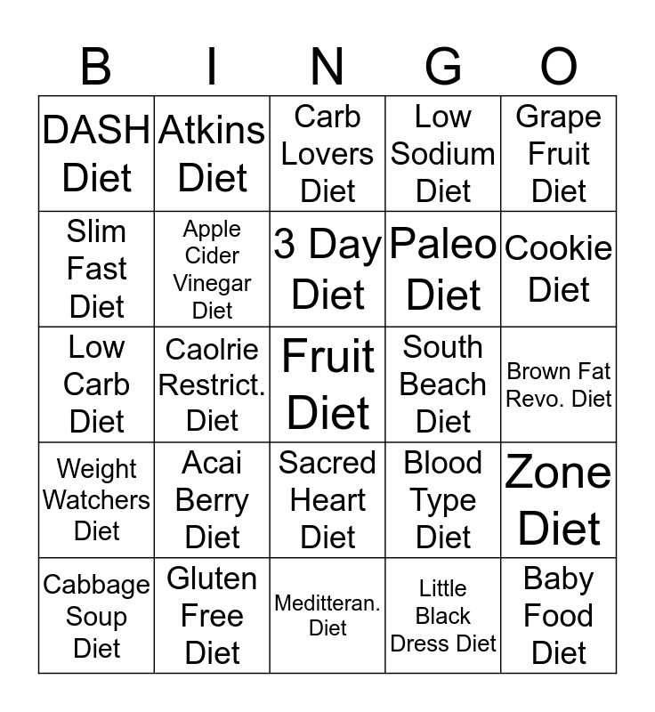 FAD Diet BINGO Card