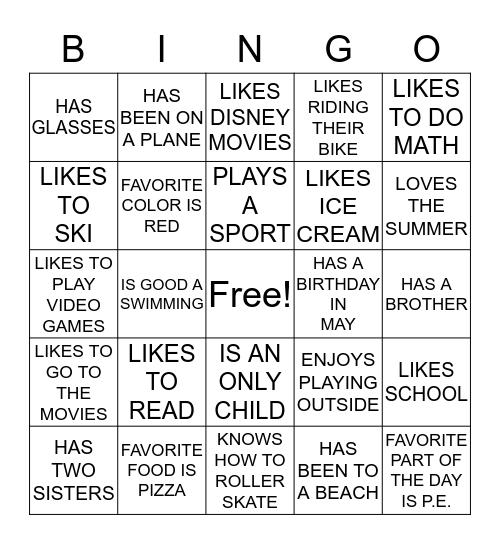 Friend Files Bingo Card