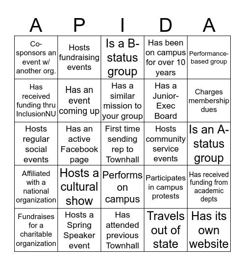 APIDA Townhall Bingo Card
