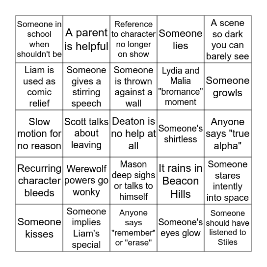 Teen Wolf Bingo - 6.10 Bingo Card