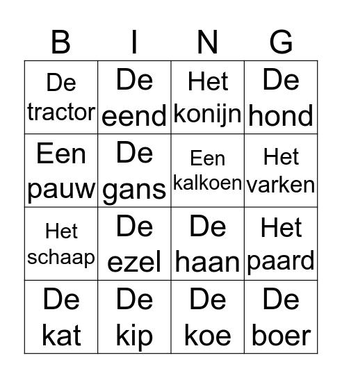 De geluiden op de boerderij Bingo Card