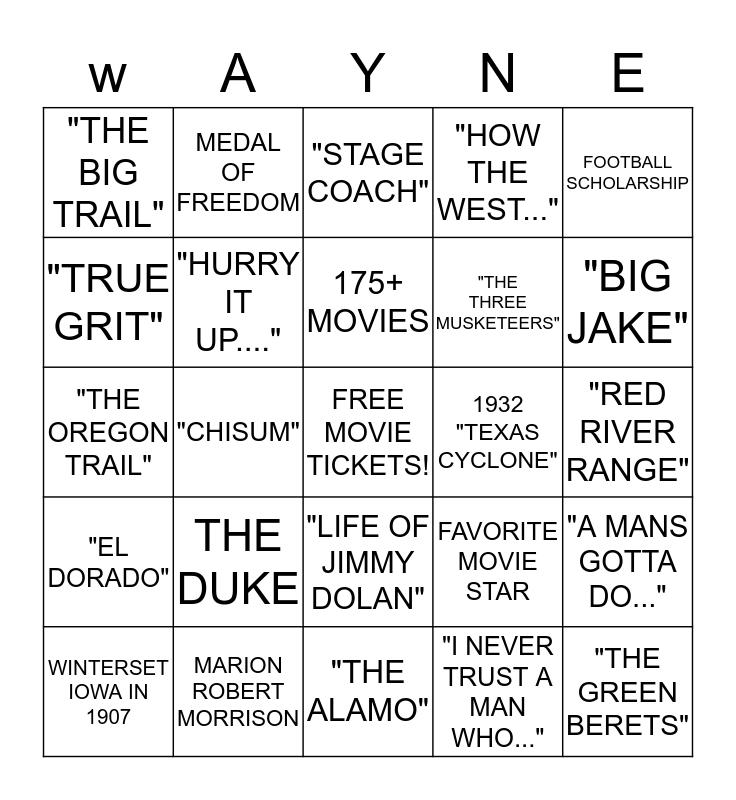 JOHN WAYNE BINGO Card