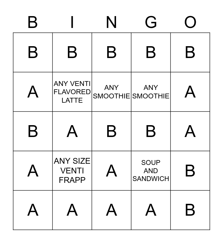100 CLUB  A  AND  B Bingo Card