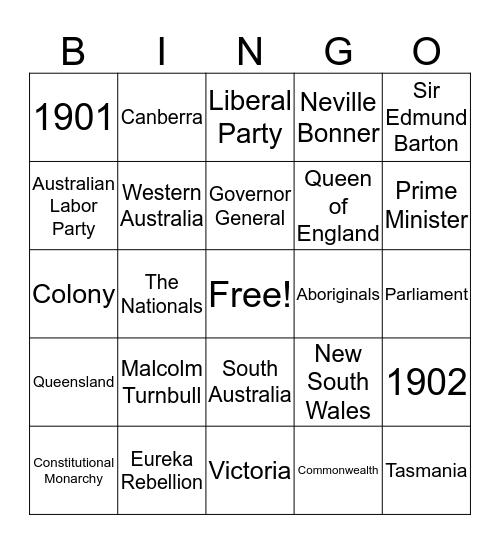 Australia Bingo Card