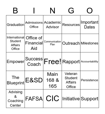 Enrollment & Student Development Bingo Card