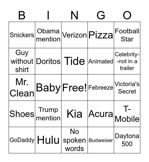 Superbowl BINGO-Commercials Bingo Card