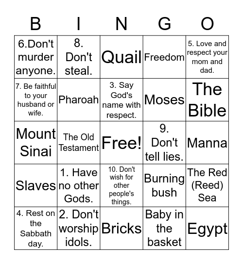 Ten Commandments Bingo Card