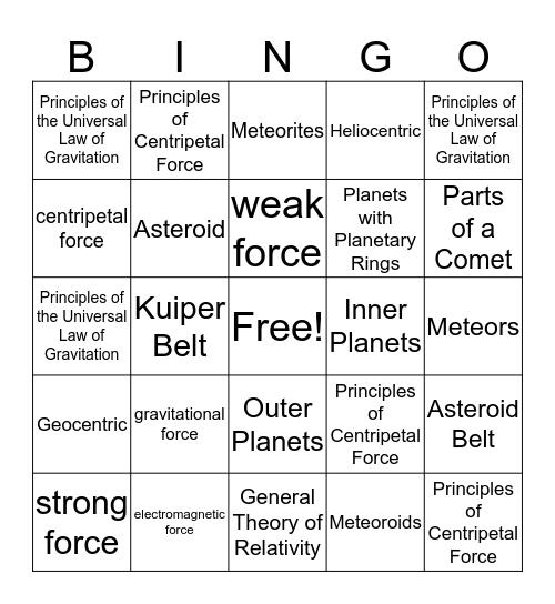 Module 11 Bingo Card