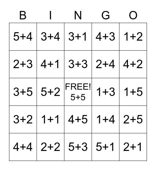 Addition Bingo (Within 10) Bingo Card