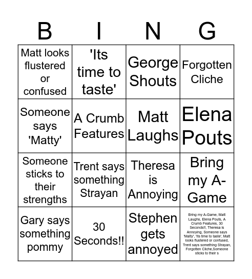 MasteChef Australia Finale Bingo Card