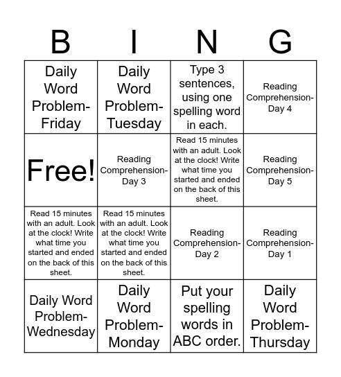 Homework Bingo- Group 1 (Week of 2/6) Bingo Card