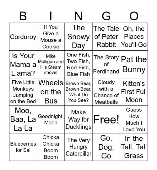 Children's Books Bingo Card