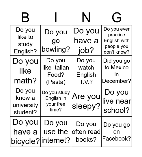 Find Someone Who! Bingo Card