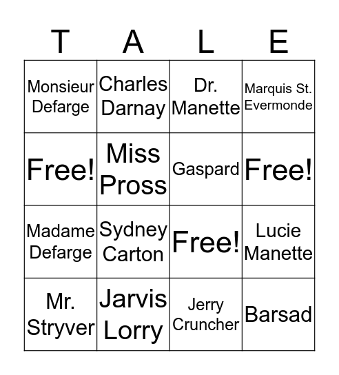 A Tale of Two Cities-Characters Bingo Card