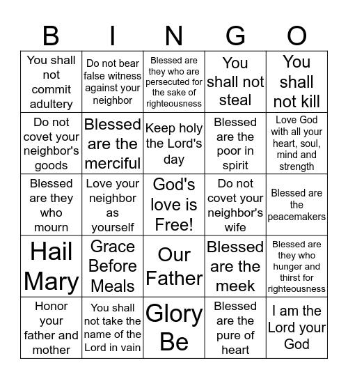 Ten Commandments & Beatitudes Bingo Card