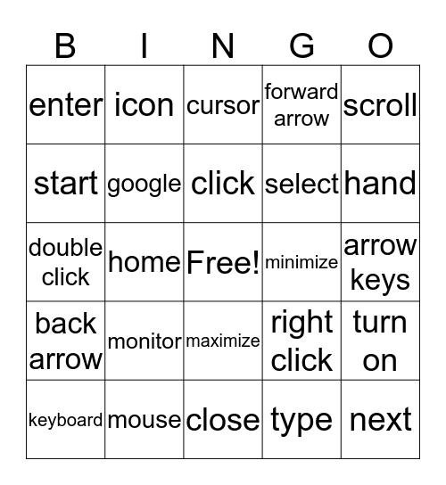 Computer Vocabulary Bingo Card