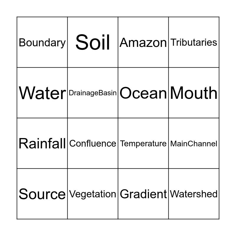 Drainage Basin Bingo Card