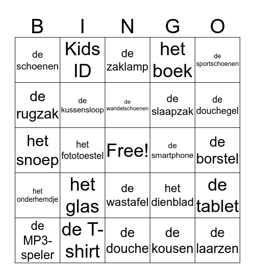 Ik ga op reis .... Bingo Card