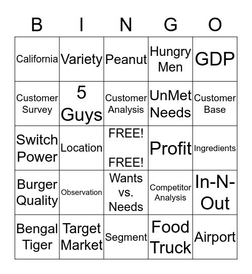 M A R K E T I N G  B U R G E R Bingo Card