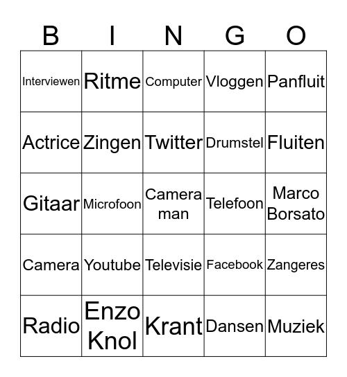 Muziek en Media BINGO Card
