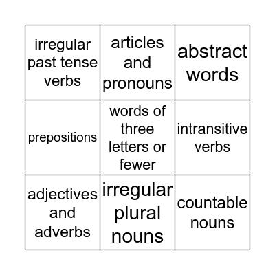 Word Category Bingo Card
