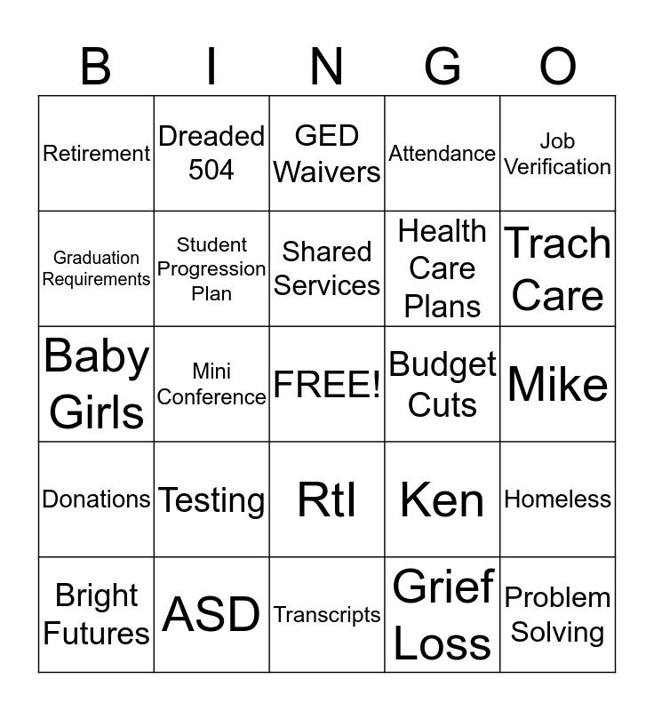 Student Services Bingo Card