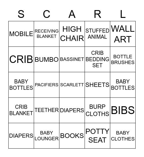 Cherie's Baby Shower Bingo Card
